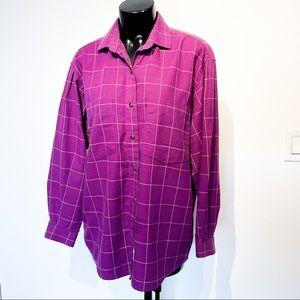 Vintage PATAGONIA Purple Tartan Cotton Long Sleeve